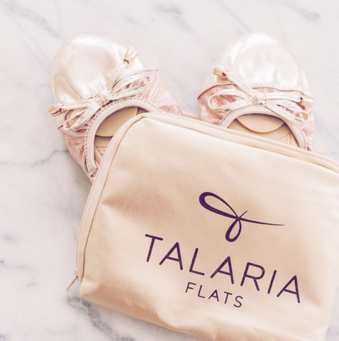Talaria Flats Champagne Foldable Ballet Flats for Bridesmaids
