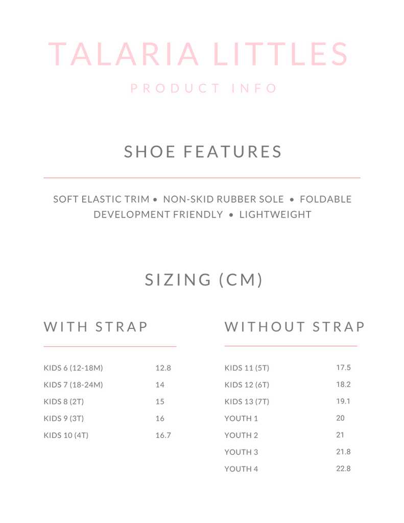 Talaria Flats Talaria Littles Girls Ballet Flats Product Info and Size Chart