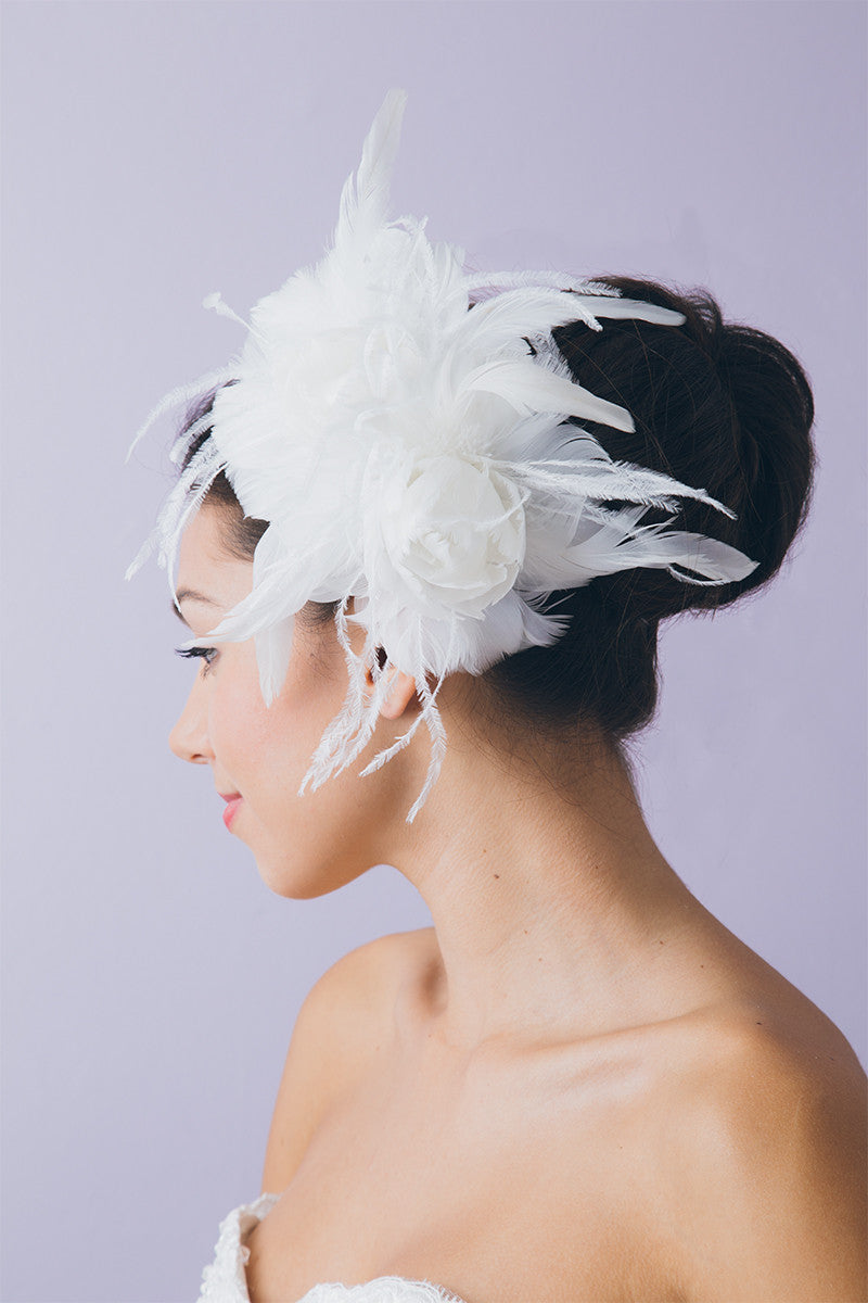 Feather Rose Hairpiece