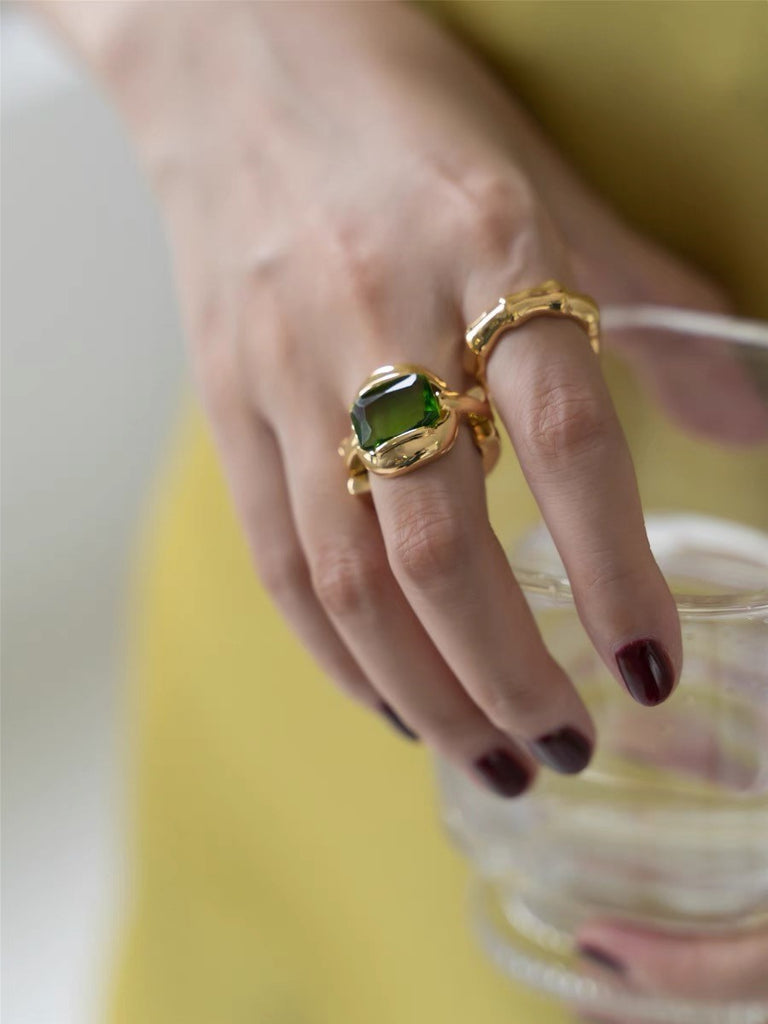 Embraced Emerald Gold Vermeil Ring
