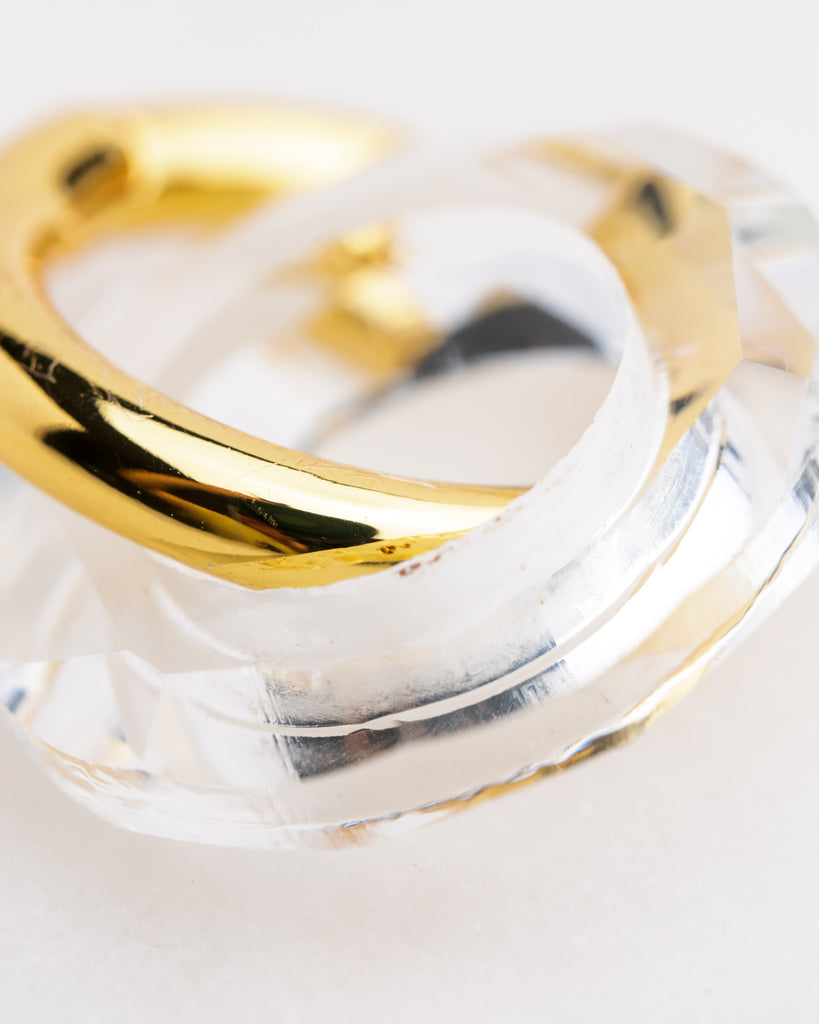 Sculpture Gold Vermeil and Clear Resin Hoops