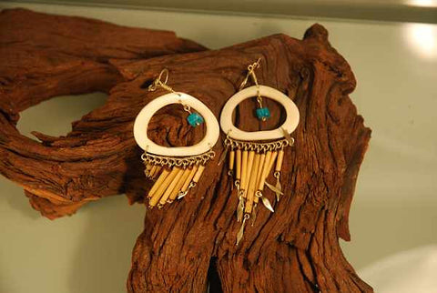 Bamboo, bone and turquoise earrings