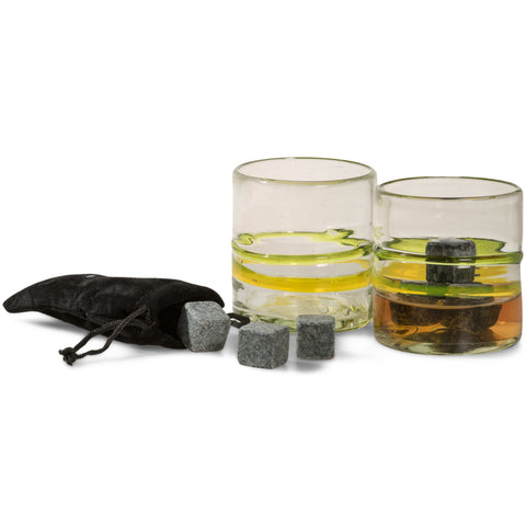Tumia Whiskey Lovers Set - 2 Tumblers and set of Whiskey Rocks