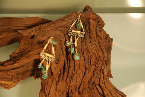 Bamboo and natural turquoise earrings