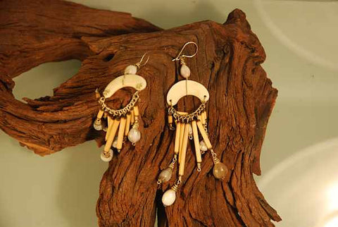 Bamboo, bone and wild seed earrings