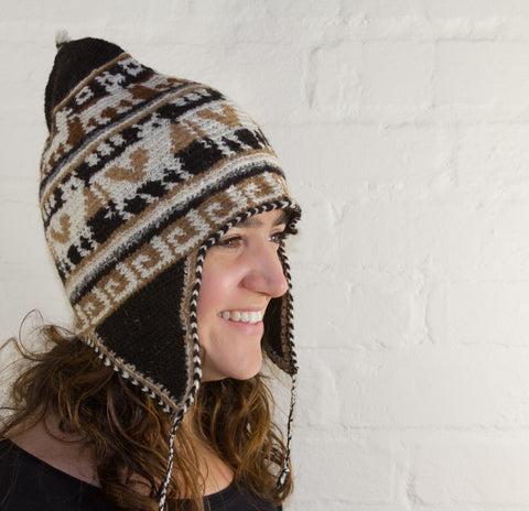Crochted Alpaca Chullo hat with ear flaps