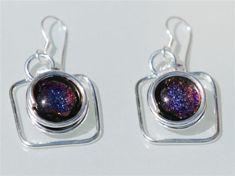 Glass earring set in sterling silver