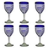 Blue Spiral Wine Glass - Recycled Glass