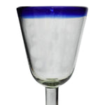 Blue Rim Campana Wine Glass - Recycled Glass