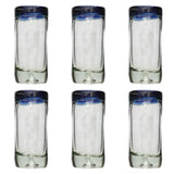 Blue Rim Shot Glass - Recycled Glass