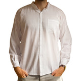 Long-Sleeve Grandad Shirt from Ecuador - 100% cotton - Choice of Colours