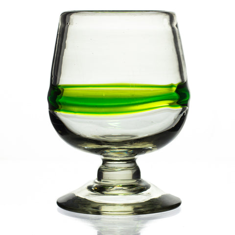 Green Stripe Small Cognac / Brandy Glass - Recycled Glass