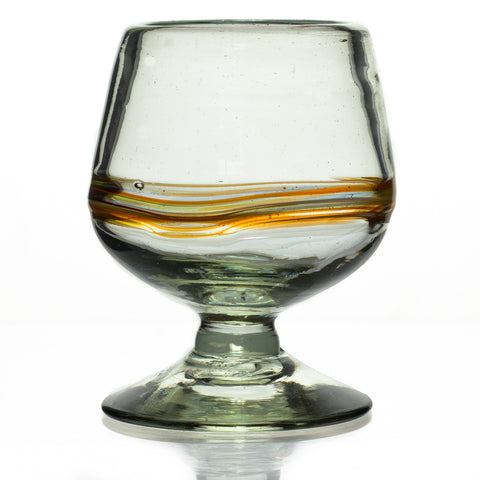 Multi-Stripe Small Cognac / Brandy Glass - Recycled Glass