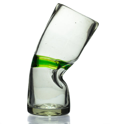 "Green Stripe Large ""Drunken"" Glass - Recycled Glass"