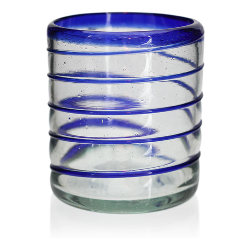 Blue Spiral Tumbler - Recycled Glass