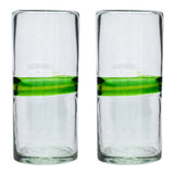 Green Stripe Tall / Hi-Ball Recycled Glass
