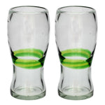 Green Stripe Pint Glass - Recycled Glass