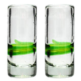 Green Stripe Shot Glass - Recycled Glass