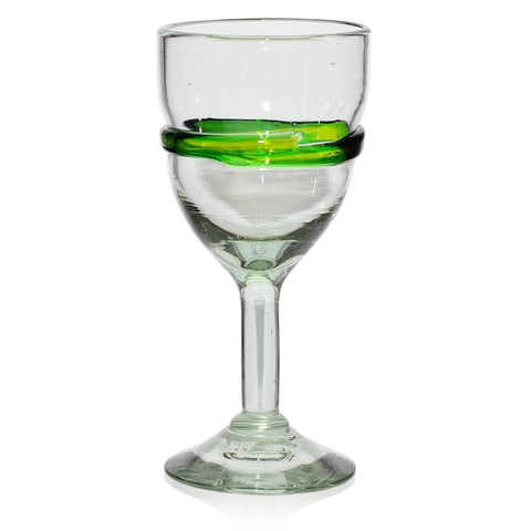 Green Stripe Large Wine Glass - Recycled Glass