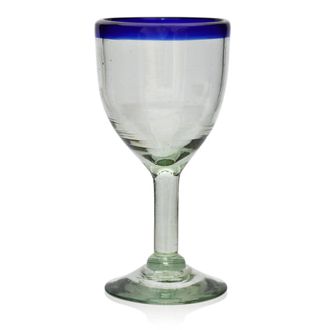 Blue Rim Wine Glass - Recycled Glass