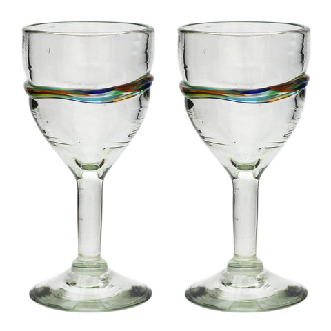 Multi-Stripe Large Wine Glass - Recycled Glass