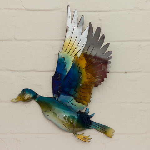 Recycled Tin Flying Duck - Blue