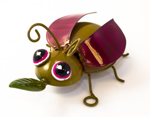 Recycled Tin - bug - table top or wall hanging 17cm