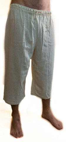 Summer 3/4-Length Trousers, Elasticated Waist, 100% Cotton - Choice of Colours