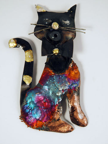 Recycled Tin Cat with bow tie