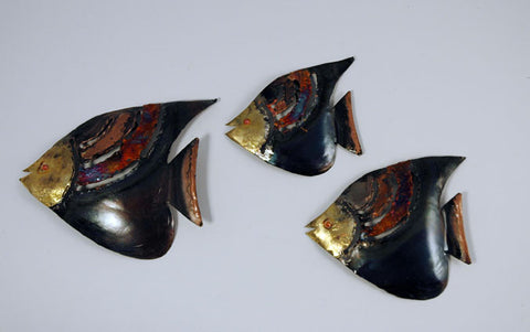 Recycled Tin Angel Fish set of 3