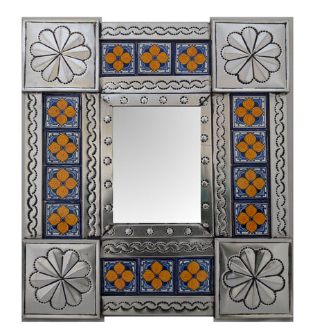 Tiled Tin Mirror - Yellow flowers