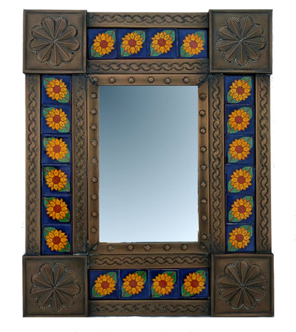 Tiled Tin Mirror - Sunflowers
