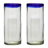 Blue Rim Hi-Ball - Recycled Glass