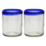 Blue Rim Tumbler - Recycled Glass