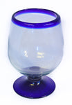 Blue Rim Brandy Glass-XL Recycled Glass