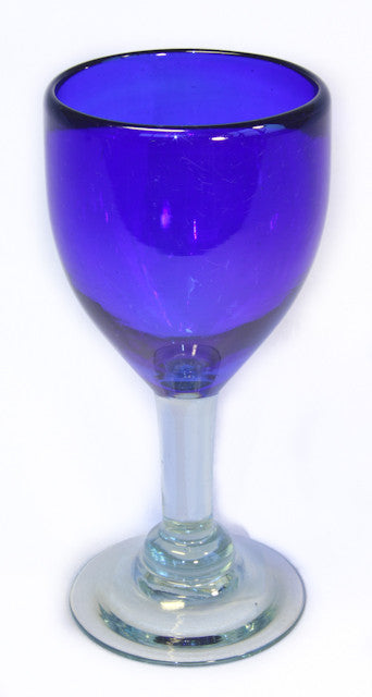 Blue goblet wine glass-recycled glass