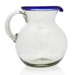 Blue rim recycled glass water jug