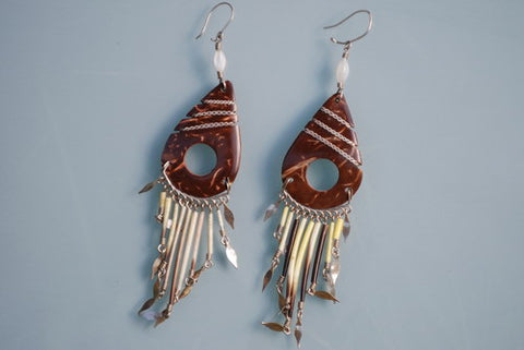 Coconut and quill earrings