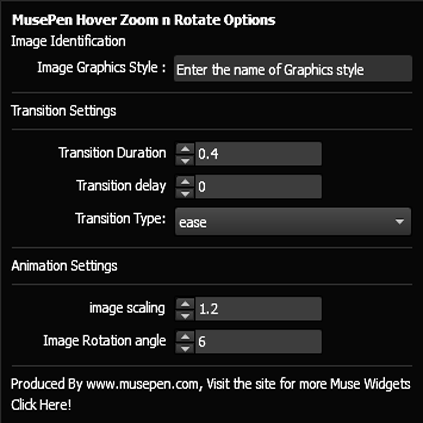 MusePen Hover : Zoom and Rotate – Adobe Muse Widget Directory