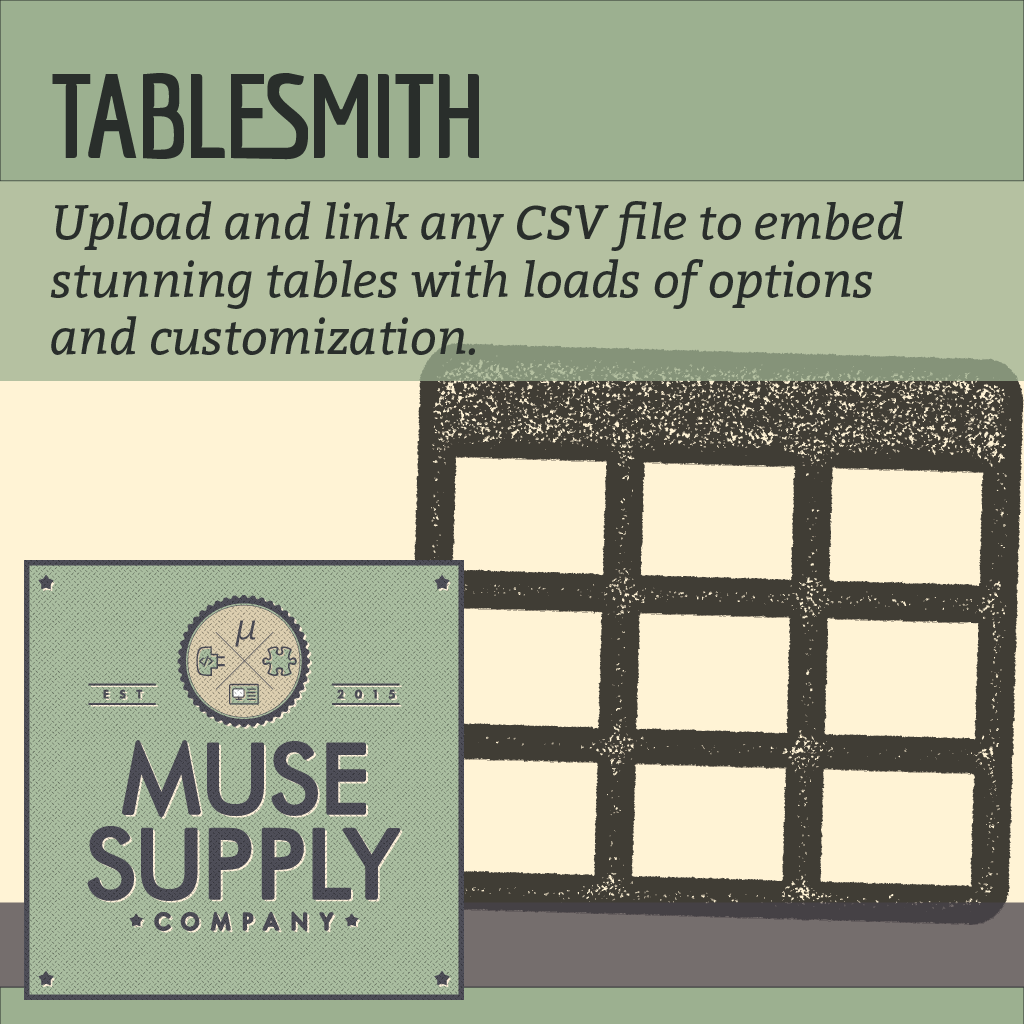 Tablesmith Tablemaker widget for Adobe Muse