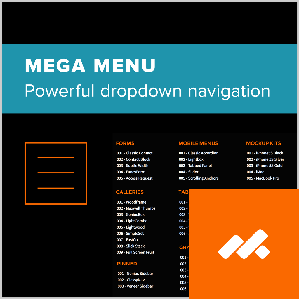 Mega Menu Adobe Muse Widget