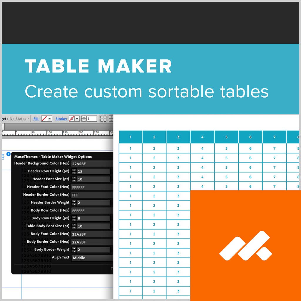 adobe muse table maker widget