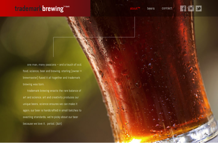 Trademark Brewing Website, United States