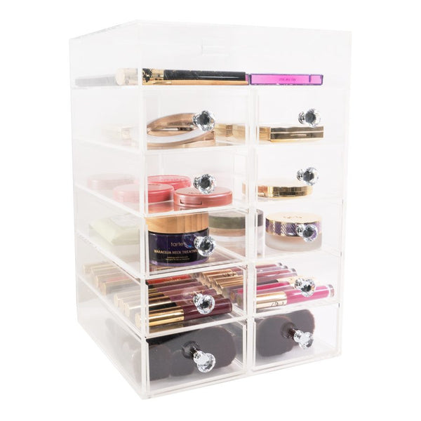 Six Tier Acrylic Makeup Organizer with Ten Drawers - Covet Cosmetics