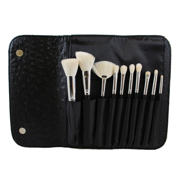 Morphe 10 Piece Deluxe Brush Set with Faux Ostrich Skin Case - Set 692 - Covet Cosmetics