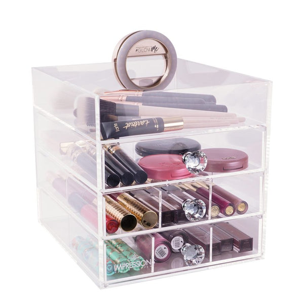 Four Tier Petit Acrylic Makeup Organizer with Open Top - Covet Cosmetics