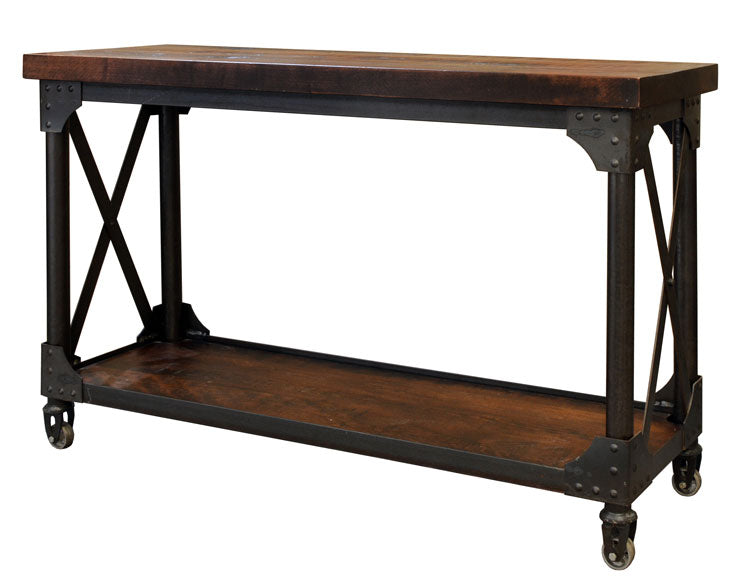 Iron Works Sofa Table Amish Made Furniture Industrial Craftsman