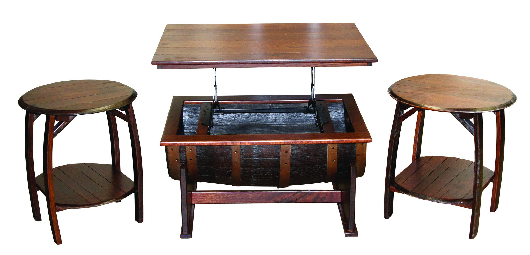 Whiskey barrel coffee table industrial craftsman whiskey barrel coffee table geotapseo Choice Image