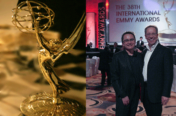 Marek Hewryk and Andrzej Lappo at the 38th International Emmy Award Show.