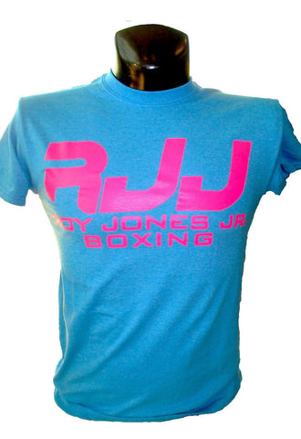RJJ Aqua Blue T-Shirt with Pink RJJ Logo